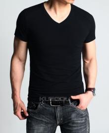 Страхотна черна V-Neck лятна тениска Черна