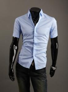 Стилна мъжка риза с къс ръкав Светло синя