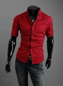 Стилна мъжка риза с къс ръкав Червена