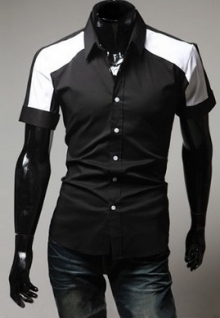 Мъжка риза с къс ръкав черна