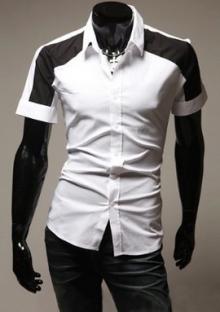 Мъжка риза с къс ръкав Бяла