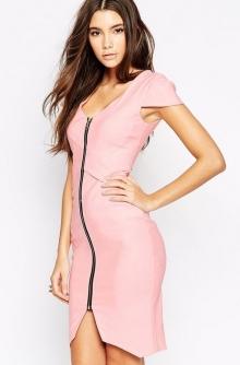 Дълга розова рокля супер визия с цип