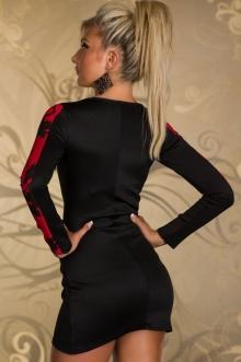 """Елегантна рокля """"Ериса"""" с червени орнаменти"""