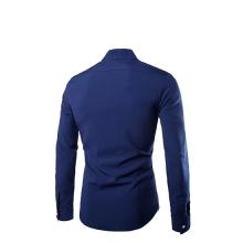Класическа мъжка риза НОВ МОДЕЛ с три копчета Синя