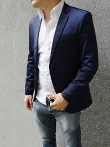 Официално мъжко сако тъмно синьо Сатен !