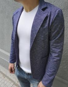 Нов модел спортно-елегантно сако на фино райе - Синьо
