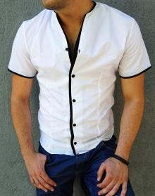 Модерна бяла риза с къс ръкав, без яка