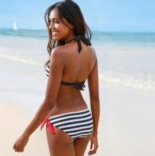 НОВ Модел дамски бански костюм в черно-бяло райе