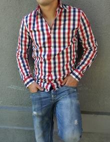 Карирана мъжка риза с дълъг ръкав и елегантна визия - червена