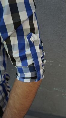 Карирана мъжка риза с дълъг ръкав и елегантна визия - синя