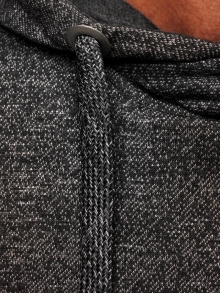 Мъжки суитшърт от меланж с втален дизайн - черен