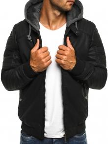 Мъжко яке от качествена еко - кожа с качулка Брус - черно