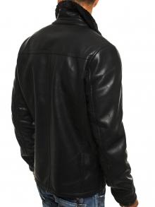 Мъжко яке от еко-кожа с подплата от агнешка вълна - черно