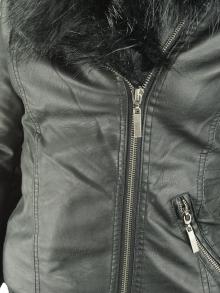 Нов модел яке от еко кожа с пух - черно