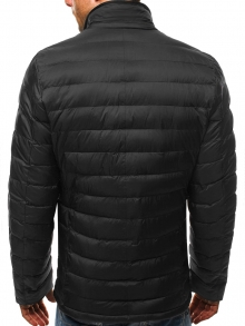 Шушляково мъжко яке с издължен дизайн - черно