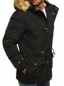 Дълго мъжко яке с качулка и пух - черно