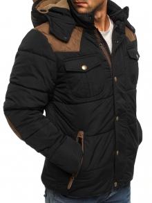 Мъжко яке с качулка с козирка и кръпки на лактите - черно