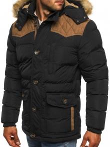 Мъжко яке със сваляща се качулка с пух и кръпки на лактите - черно