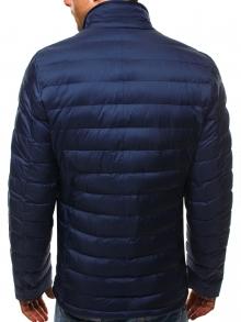 Шушляково мъжко яке с издължен дизайн - тъмно синьо