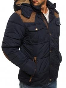 Мъжко яке с качулка с козирка и кръпки на лактите - синьо