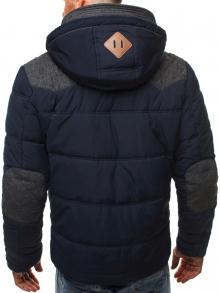 Зимно мъжко яке със сваляща се кожена качулка - синьо