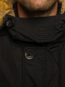 Мъжко зимно яке със сваляща се качулка и допълнителна яка - черно