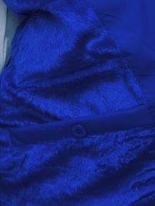 Мъжки елек с качулка от плат - син ( Качулката се сваля )