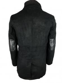"""Мъжки балтон с кожени кръпки на лактите """"Фауст"""" - черен"""