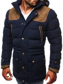 Зимно мъжко яке със сваляща се качулка и модерни кръпки - синьо