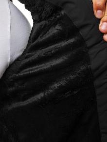 Мъжки елек със сваляща се качулка и яка от агнешка кожа - черен