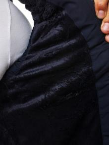 Мъжки елек със сваляща се качулка и яка от агнешка кожа - син