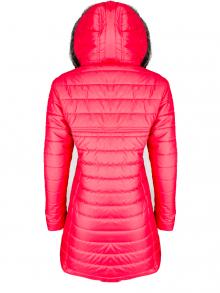 """Дълго дамско яке със сваляема качулка с пух """"Елви"""" - червено"""