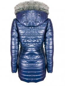 """Дълго дамско яке със сваляема качулка с пух """"Елви"""" - тъмно синьо"""