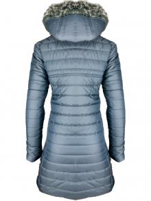 """Дълго дамско яке със сваляема качулка с пух """"Елви"""" - сиво"""