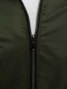 Пролетно мъжко яке тип Bomber с качулка - Маслено зелено