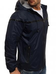 Пролетно шушляково яке с олекотен дизайн и качулка - тъмно синьо