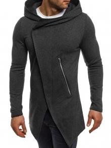 Стилно мъжко горнище с издължен дизайн - тъмно сиво