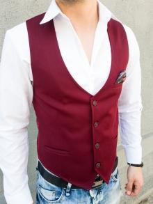 Стилен мъжки елек с кърпичка - червен