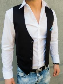 Стилен мъжки елек с кърпичка - черен