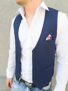 Стилен мъжки елек с кърпичка - тъмно син