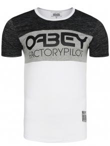"""Мъжка тениска """"OABEY"""" - бяла"""