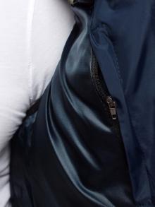 Изчистен мъжки елек с качулка - тъмно син