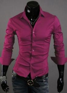 Втален модел мъжка риза - циклама