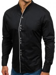 Класическа мъжка риза НОВ МОДЕЛ с три копчета Черна