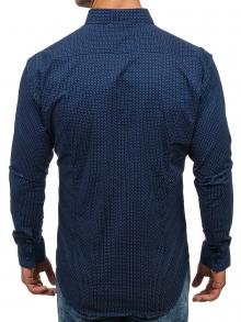 Мъжка риза с десен на фини точки - тъмно синя