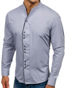 Нов модел мъжка риза с по три копчета - сива