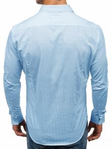 Мъжка риза с десен на фини точки - светло синя