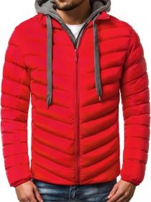 Мъжко шушляково яке с качулка и подплата - червено