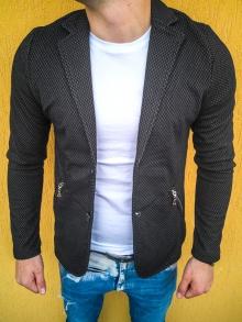 Спортно-елегантно сако изработено от памук - черно