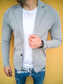 Спортно-елегантно сако изработено от памук - сиво